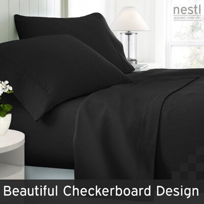 Wyatt Embossed Checkerboard Microfiber Sheet Set Color: Black, Size: Queen