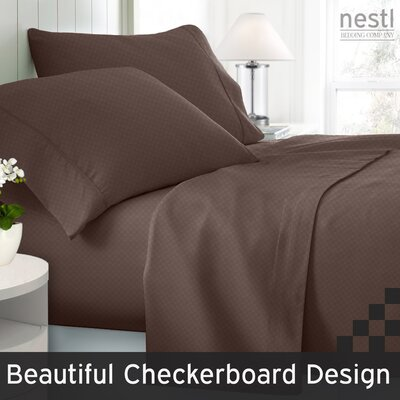 Wyatt Embossed Checkerboard Microfiber Sheet Set Color: Chocolate Brown, Size: Queen