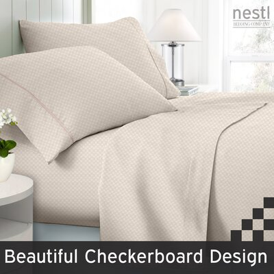 Wyatt Embossed Checkerboard Microfiber Sheet Set Color: Cream, Size: Queen