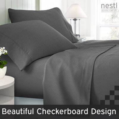 Wyatt Embossed Checkerboard Microfiber Sheet Set Color: Charcoal Grey, Size: King