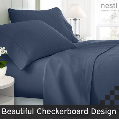 Wyatt Embossed Checkerboard Microfiber Sheet Set Color: Navy Blue, Size: California King