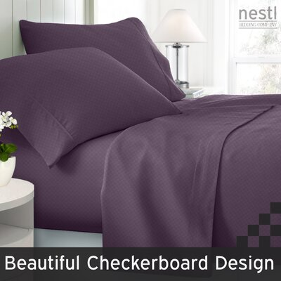 Wyatt Embossed Checkerboard Microfiber Sheet Set Color: Purple, Size: Queen