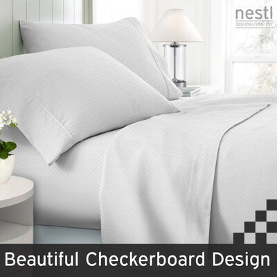 Wyatt Embossed Checkerboard Microfiber Sheet Set Color: White, Size: Queen