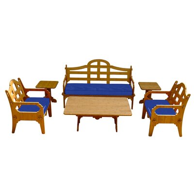 Burliegh Solid 9 Piece Lounge Seating Group with Cushions Fabric: Blue
