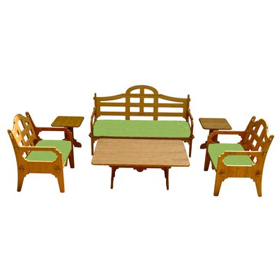 Burliegh Solid 9 Piece Lounge Seating Group with Cushions Fabric: Ginko Green