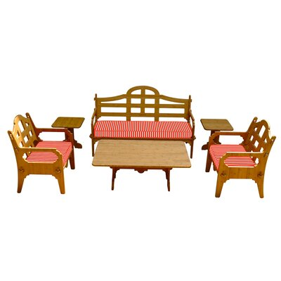 Burliegh Striped 9 Piece Lounge Seating Group with Cushions Fabric: Red/White