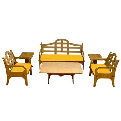 Palladian Solid 9 Piece Lounge Seating Group with Cushions Fabric: Yellow