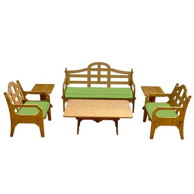 Burliegh Modern Solid 9 Piece Lounge Seating Group with Cushions Fabric: Ginko Green