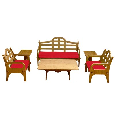 Palladian Solid 9 Piece Lounge Seating Group with Cushions Fabric: Red