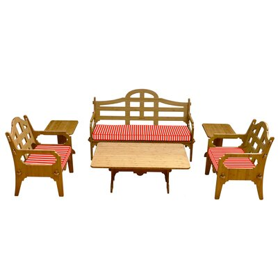 Palladian Striped 9 Piece Lounge Seating Group with Cushions Fabric: Red/White