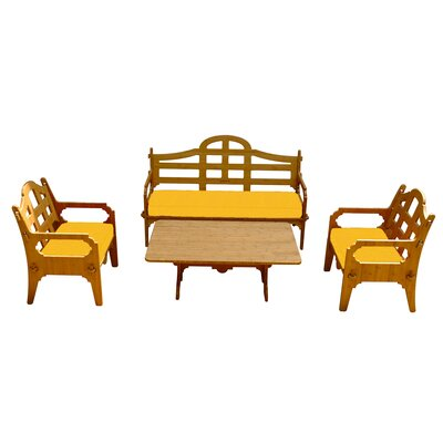 Burliegh Solid 9 Piece Wood Lounge Seating Group with Cushions Fabric: Yellow