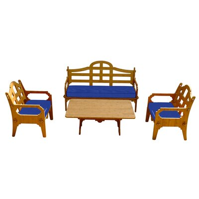 Burliegh Solid 9 Piece Wood Lounge Seating Group with Cushions Fabric: Blue