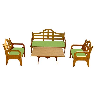 Burliegh Solid 9 Piece Wood Lounge Seating Group with Cushions Fabric: Ginko Green
