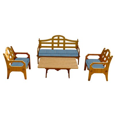 Burliegh Striped 7 Piece Lounge Seating Group with Cushions Fabric: Blue/White