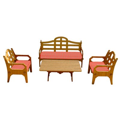 Burliegh Striped 7 Piece Lounge Seating Group with Cushions Fabric: Red/White