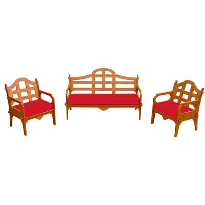 Burliegh Solid 6 Piece Lounge Seating Group with Cushions Fabric: Red