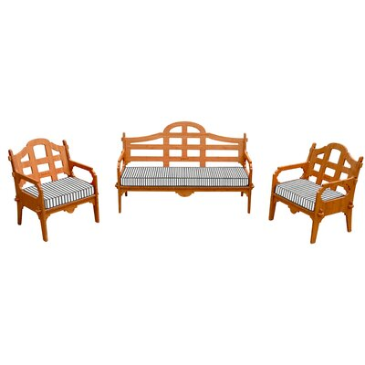 Palladian Striped 6 Piece Lounge Seating Group with Cushions Fabric: White/Blue