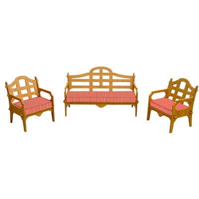 Burliegh Striped 6 Piece Lounge Seating Group with Cushions Fabric: Red/White