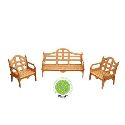 Burliegh 3 Piece Wood Lounge Seating Group
