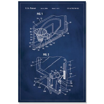 'Basketball Hoop Patent' Printed Print on Canvas Size: 18