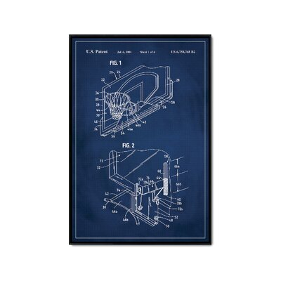 'Basketball Hoop Patent' Framed Printed Print on Canvas Size: 36