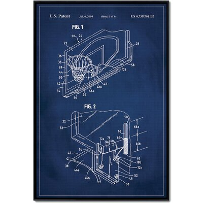 'Basketball Hoop Patent' Framed Printed Print on Canvas Size: 24
