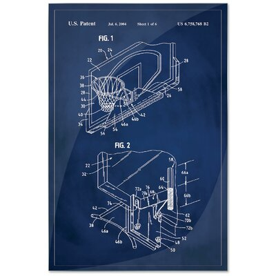 'Basketball Hoop Patent' Framed Printed Print on Metal Size: 18