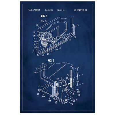 'Basketball Hoop Patent' Printed Print Size: 36