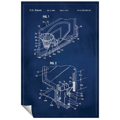 'Basketball Hoop Patent' Printed Print Size: 48