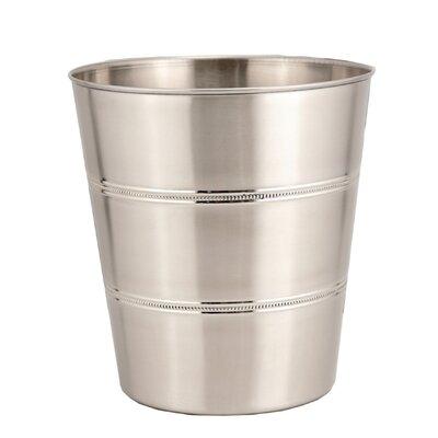 3-Gal. Beaded Round Stainless Steel Wastebasket 300519