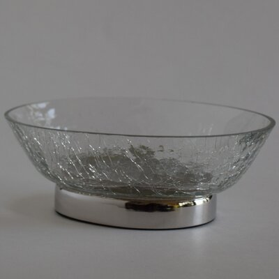 Classic Oval Crackle Glass Soap Dish