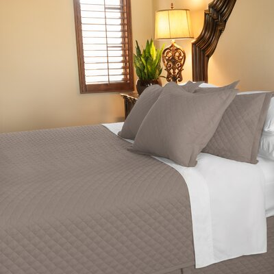 Eternal Diamond 120 GSM Microfiber Luxury Quilted Blanket Color: Taupe, Size: Queen