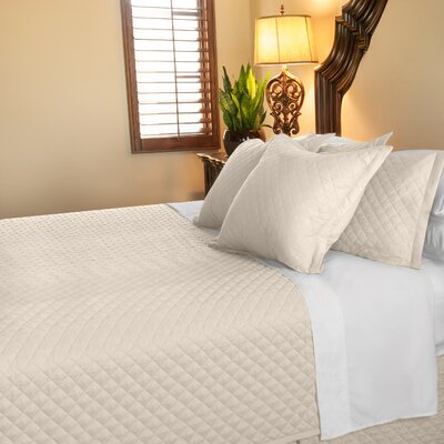 Eternal Diamond 120 GSM Microfiber Luxury Quilted Blanket Color: Ivory, Size: Queen