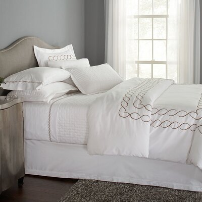 Eternal Embroidered 3 Piece Duvet Cover Set Color: White/Silver Gray, Size: King
