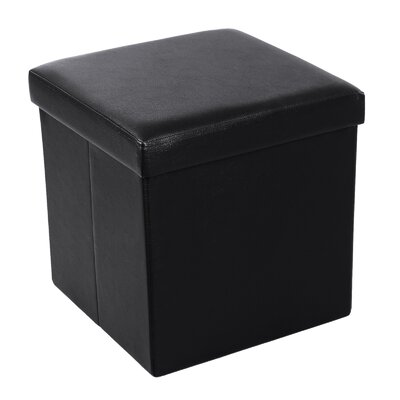 Cube Folding Storage Ottoman Upholstery: Black