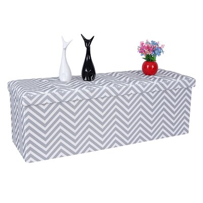 Folding Chevron Storage Ottoman