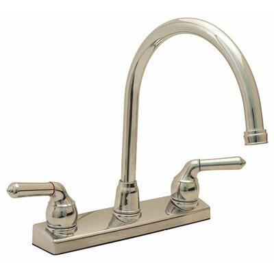 Double Handle Deck Mounted Kitchen Faucet Finish: Brushed Nickel