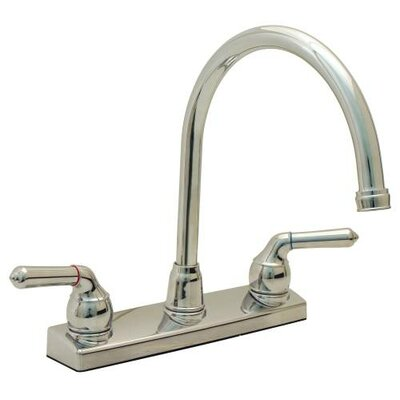 Double Handle Deck Mounted Kitchen Faucet Finish: Chrome