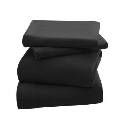 Peak Performance Fleece Sheet Set Size: Twin, Color: Black