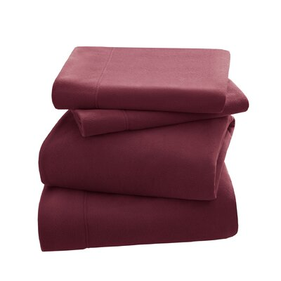 Peak Performance Fleece Sheet Set Size: Twin, Color: Red