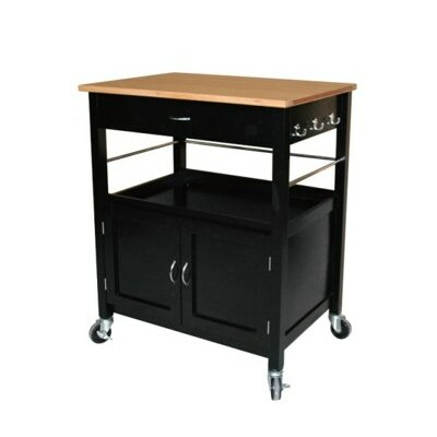 Stillman Kitchen Island Cart with Natural Butcher Block Bamboo Top