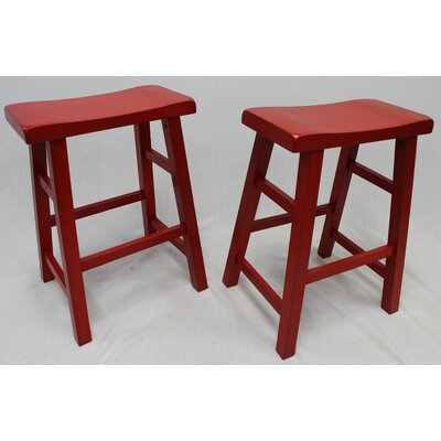 Lyndora 24 Bar Stool Finish: Red