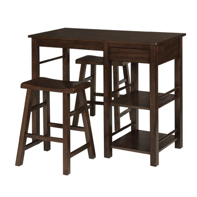 Jameel Counter Height Wood Breakfast 3 Piece Pub Table Set