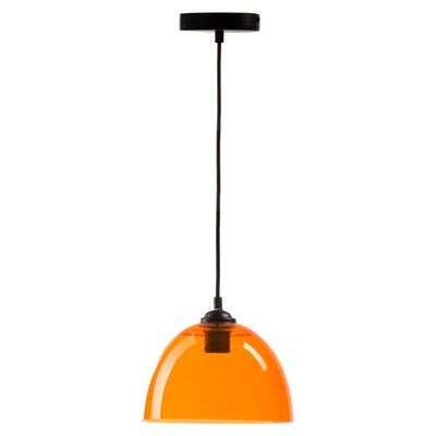 Suspension 1-Light Bowl Pendant Shade Color: Orange