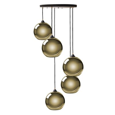 Copeland Sphere 5-Light Cluster Pendant Shade Color: Gold