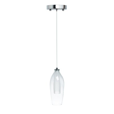 Hollister Modern Glass Dual Tone 1-Light LED Mini Pendant Size: Small