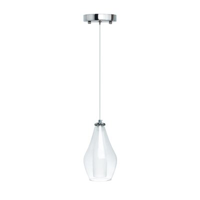 Hollister Modern Glass Dual Tone 1-Light LED Mini Pendant Size: Medium