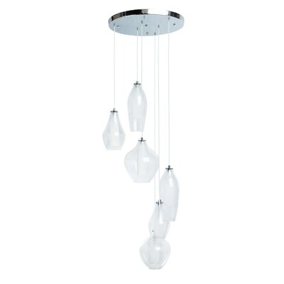 Hollister Modern Glass Dual Tone 6-Light LED Cluster Pendant