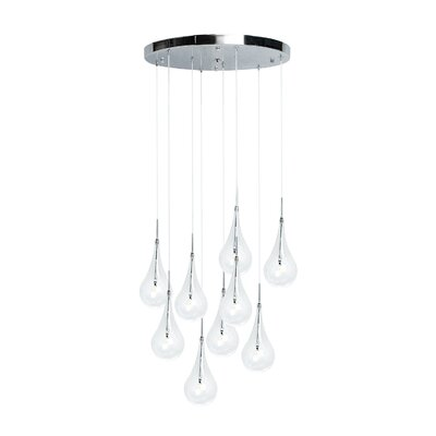 Stelian Modern Glass Globes 9-Light LED Crystal Chandelier
