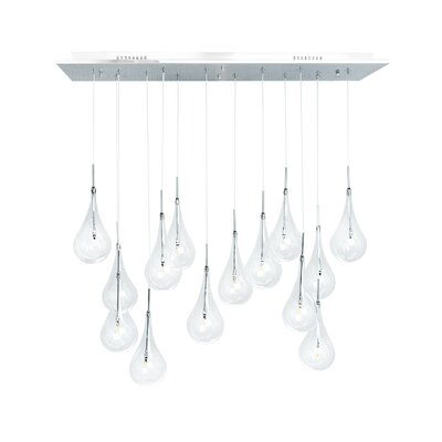 Leen Modern Glass Globes 14-Light LED Crystal Chandelier